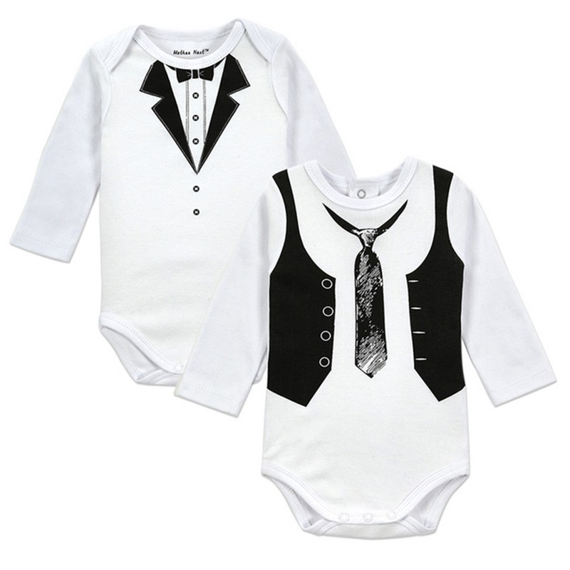 2PICSLOT Gentleman Long Sleeve Baby Boy Bodysuits Baby Boys Girls Clothes Spring Summer Children Jumpsuit Newborn Infant Body (2)