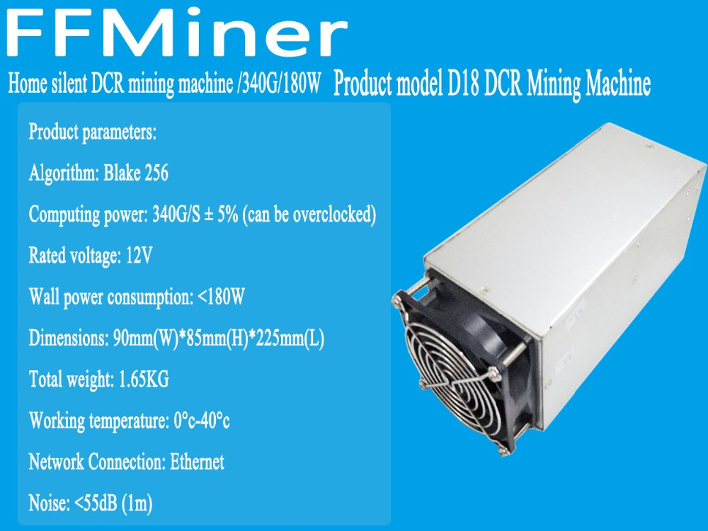 In stock, the new DCR mining machine FFMiner D18 340GH/S 160W and Innosilicon D9 2.4TH/S 1000W Blake256 better than antiminer S9 new style decred miner innosilicon d9 siamaster pow algorithm 2 4th s 900w for decred