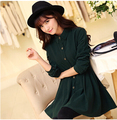 2016 Winter Slim Preppy Style Casual Women Thick Dress Turn Down Collar Solid Vintage Button Decoration Vestidos Pleated Dress