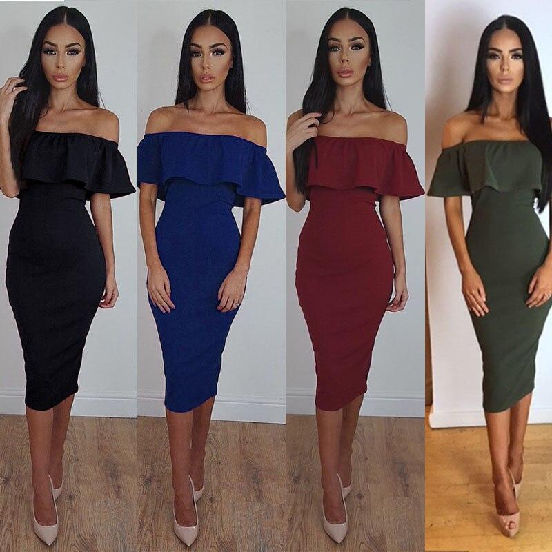7f11df67251 New 2019 Summer Dress Sexy Vintage Lotus leaf collar Bodycon Dress Red Black  Fork Slim package hip Dress Women Dresses Vestidos