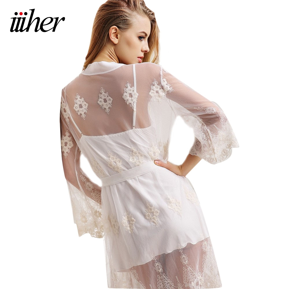 iiiher sexy nightwear lace patchwork satin robe set short. Black Bedroom Furniture Sets. Home Design Ideas