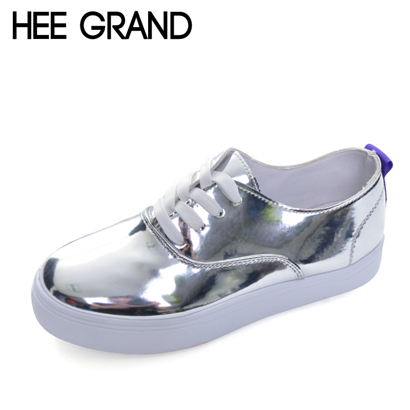 HEE GRAND 2017 Bling Loafers Patent PU Leather Platform Shoes Woman Casual Lace-Up Flats Silver Pink Women Shoes XWD5786 hee grand casual women s sandals 2017 silver creepers platform summer shoes woman flats pink casual women shoes xwz3886