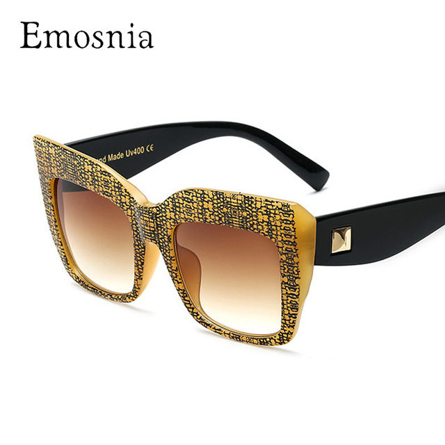 b0eee27ca406 Emosnia Fashion Oversized Goggle Sunglasses Women Men Vintage Big Frame Square  Brand Designer Sun Glasses Retro Classic Eyewear