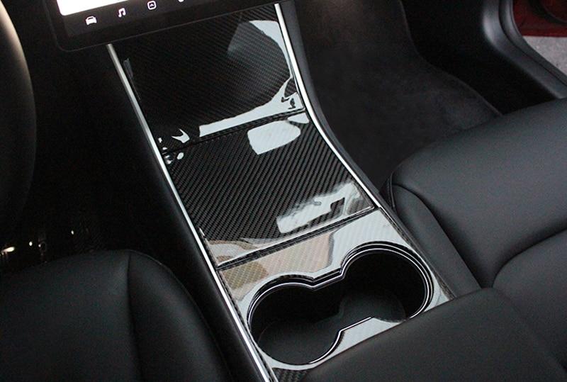 Pour Tesla MODEL3 2018-2019 fibre de carbone style volant de voiture housse de protection garniture autocollant accessoires d'intérieur style