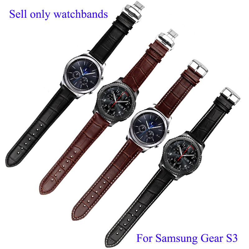 22mm Genuine Leather Watchbands For Samsung Gear S3 Classic crocodiling Bracelet Quick Release font b Smart