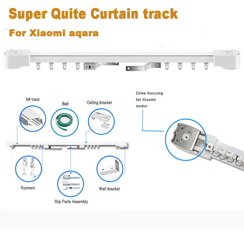 Customized High quality Super Quiet Electric Curtain Track for Xiaomi and DOOYA Curtain motor, Super Silent Curtain rail-in Automatic Curtain Control System from Home Improvement