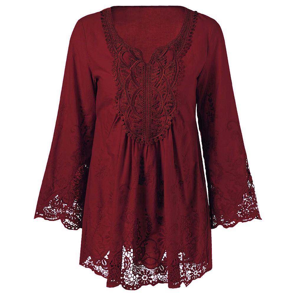 HTB1LZc1OXXXXXaMXFXXq6xXFXXXb - Gamiss Plus Size 5XL Female Blusa Retro Spring Autumn Lace Floral