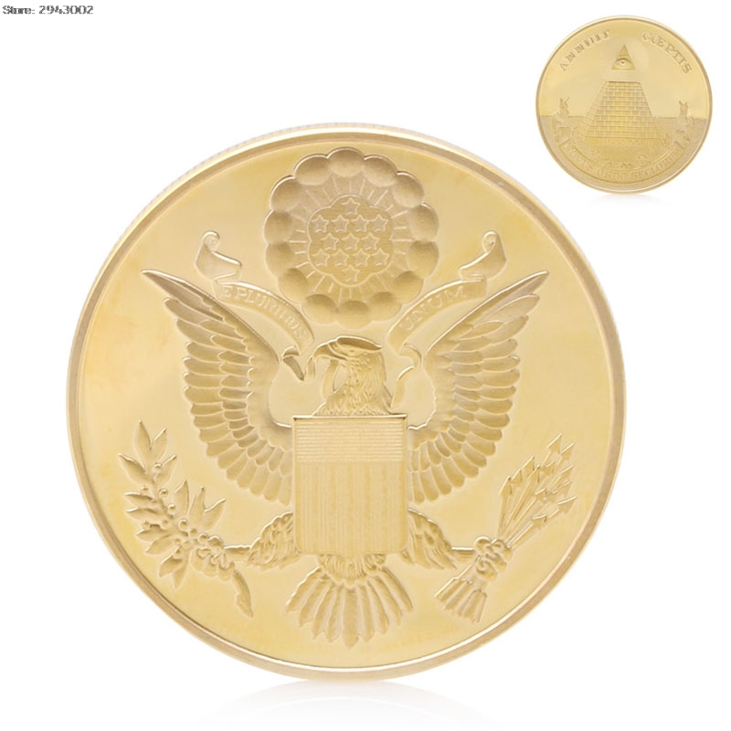 Gold Plated American Emblem Annuit Coeptis Commemorative Coin Collection Physical Challenge Gift