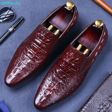 QYFCIOUFU 2019 New Men formal shoes Genuine Leather italian luxury Male Dress Shoes Wedding Office Party Oxford crocodile shoes