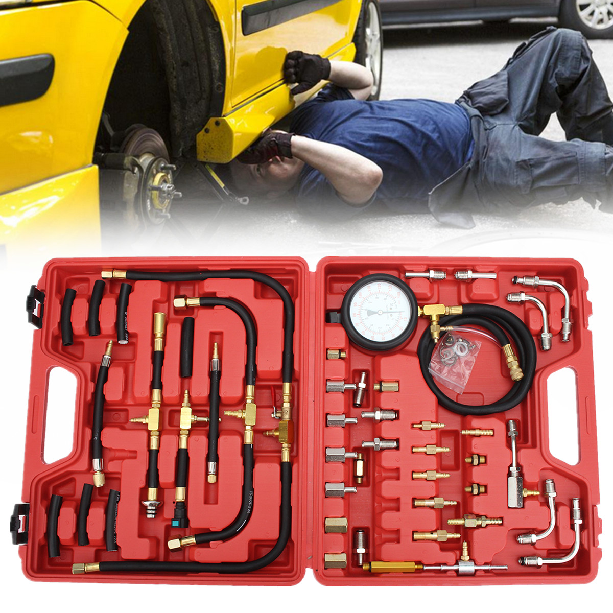 Fuel Injection Pump Pressure Injector Tester 140psi Test Pressure Gauge Kit Case Universal 32 Adapters 3-way-valve Vehicle car style tu 443 fuel injection pressure tester injector pump pressure gauge gasoline test set 0 140psi for cars