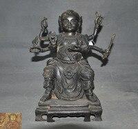 Свадебные украшения Редкий Старый Китайский Бронзовый мифологии рисунок даосский Хранитель Бог 6 Руки нежа статуя новый год
