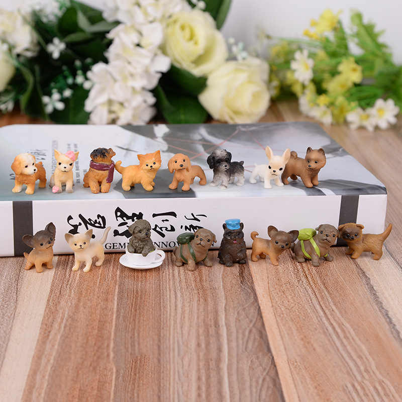 16pcs Cute dog animal model pvc Figurines Miniatures kawaii dog fairy garden miniatures kids gifts Home Decoration