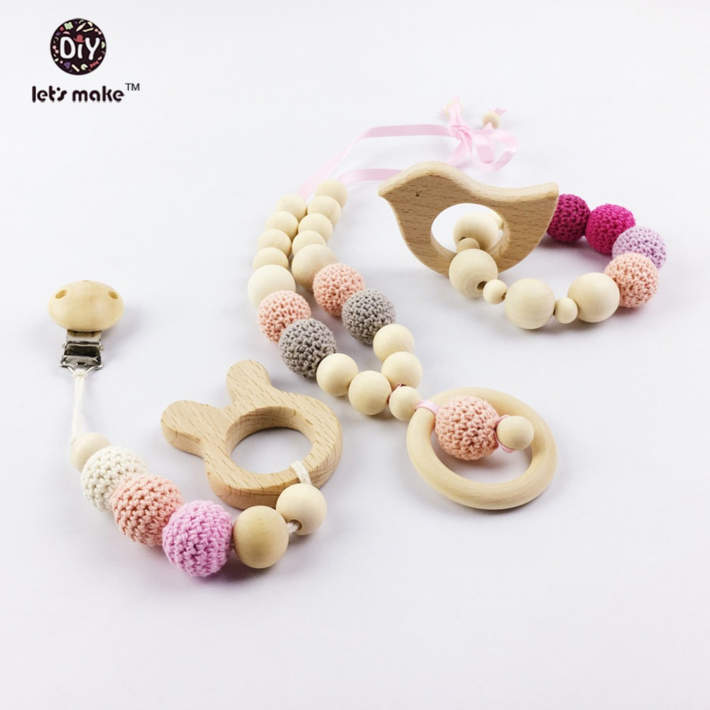 Let's make wooden Baby Teether animal Shaped teether Pacifier Clip Eco-friendly clip chewable Beads wooden teether Baby Bracelet