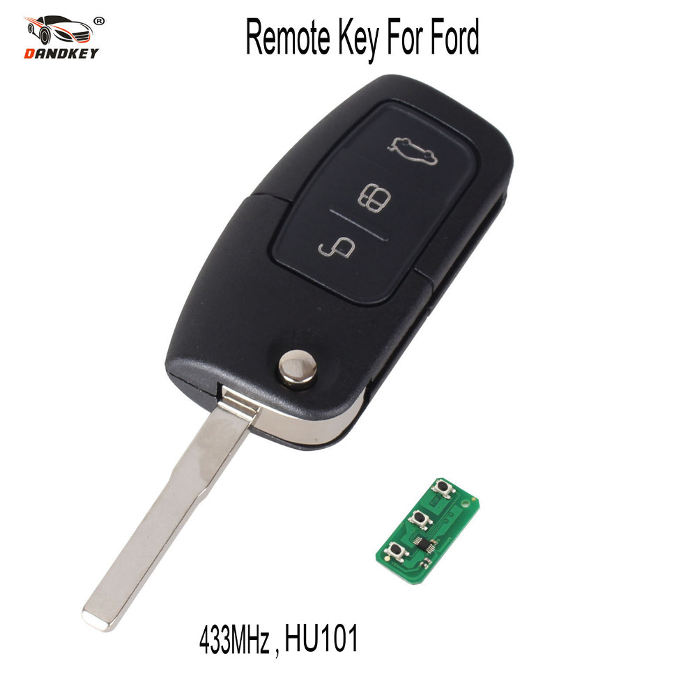 Dandkey 315 433mhz 3 buttons flip folding remote control key for ford focus fiesta 2013 fob case with hu101 blade