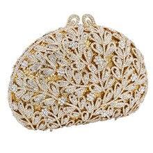 Newest Flower Evening Crystal Bag Golden Stones rhinestone Clutch Evening Bag Female Party Purse Wedding Clutch Bag SC532