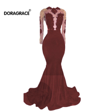 Doragrace robe de soiree Applique Beaded Open Back Prom Dresses Long Evening Gowns Dubai Party