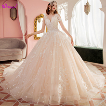 Glamorous Appliques Royal Train Ball Gown Wedding Dresses 2019 Sexy V-Neck Beaded Pleated Lace Up Princess Bridal Plus Size