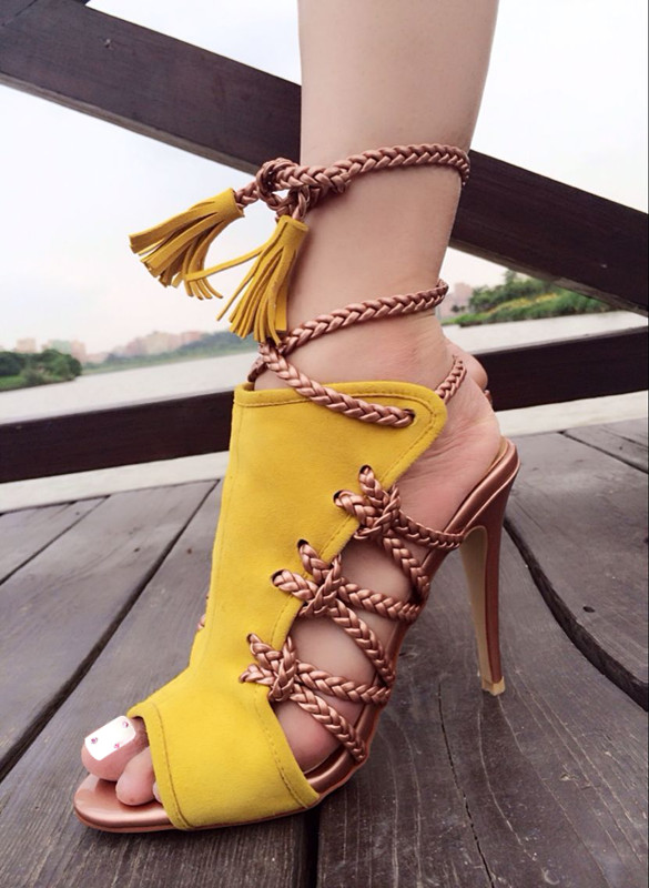 2017 Top Selling Summer Dress Shoes Women Open Toe High Heel Sandal Lace Up Tassel Detail Sandals Wholesale Drop Shipping open back chain detail bodycon dress