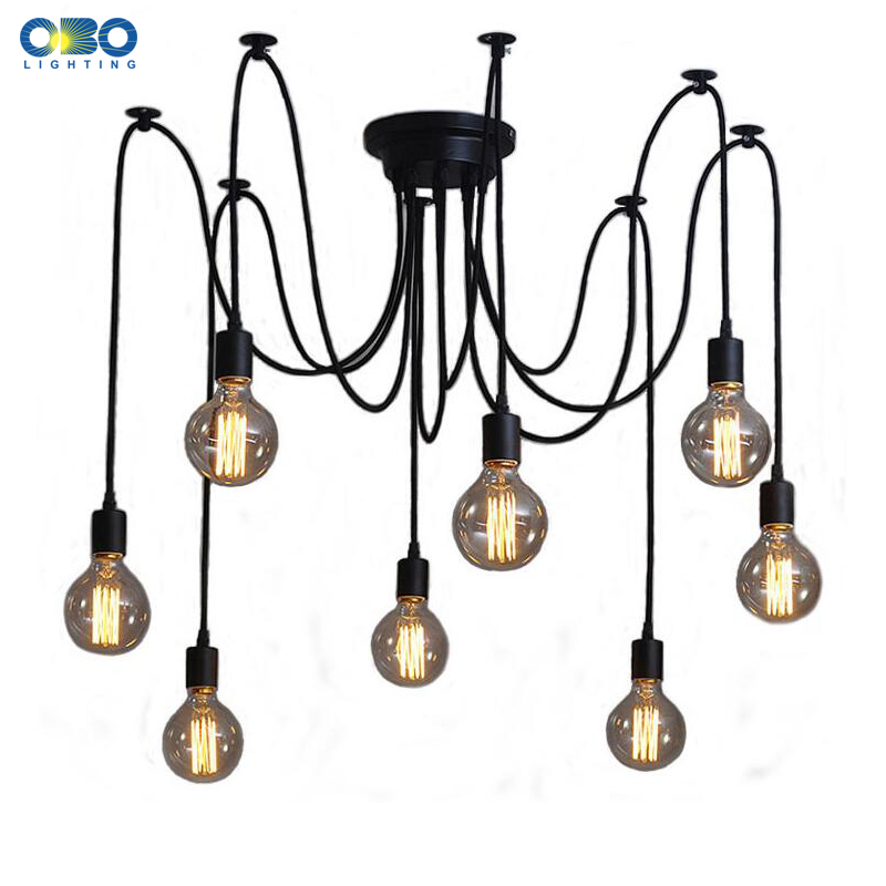DIY Vintage Black Cord Multiple Light Sources Simple Pendant Lamp Dining Room Coffee 1-2m Wire Spider Pendant Lights