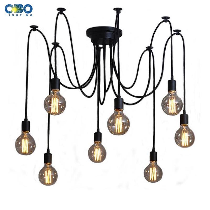 DIY Vintage Black Cord Multiple Light Sources Simple Pendant Lamp Dining Room Coffee 1-2m Wire Spider Pendant Lights