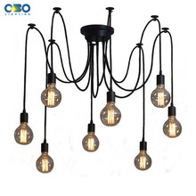 DIY Vintage Black Cord Multiple Light Sources Simple Pendant Lamp Dining Room Coffee 1-2m Wire Spider Pendant Lights(China)