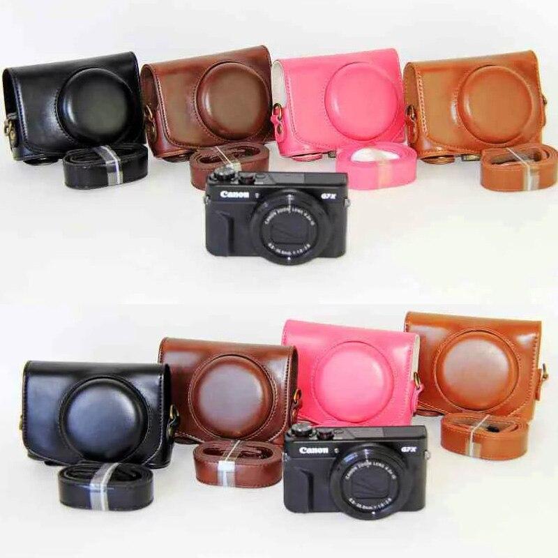 Caso de cuero caja de la cámara para Canon G7x Mark II Cámara cubierta + correa