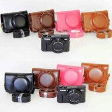 Capa de couro Camera Case Capa Bag para Canon G7x mark II Câmera Capa + correia