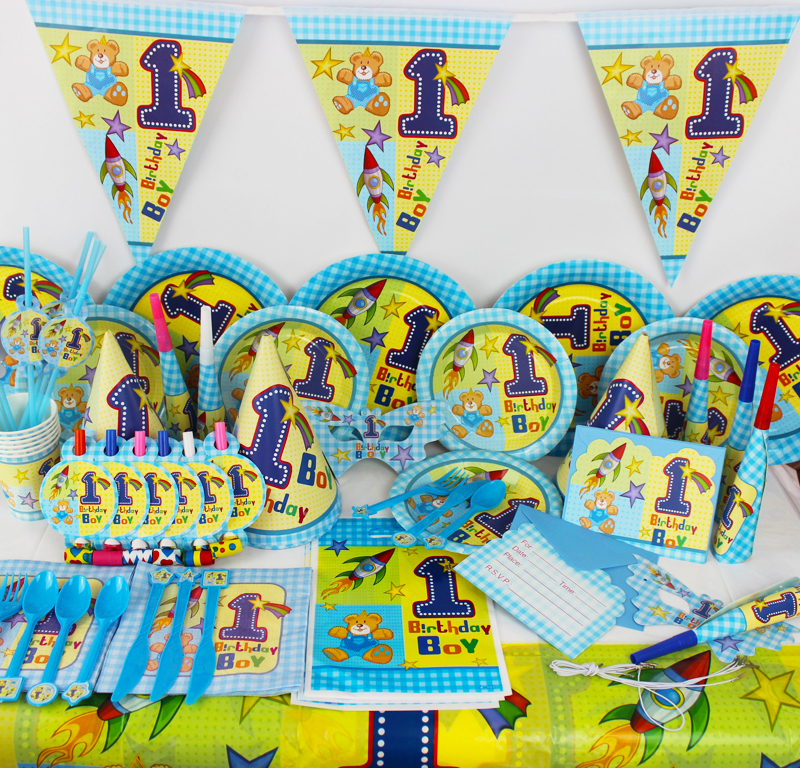 78pcs one years old bear baby girl birthday party for 1 year birthday decorations
