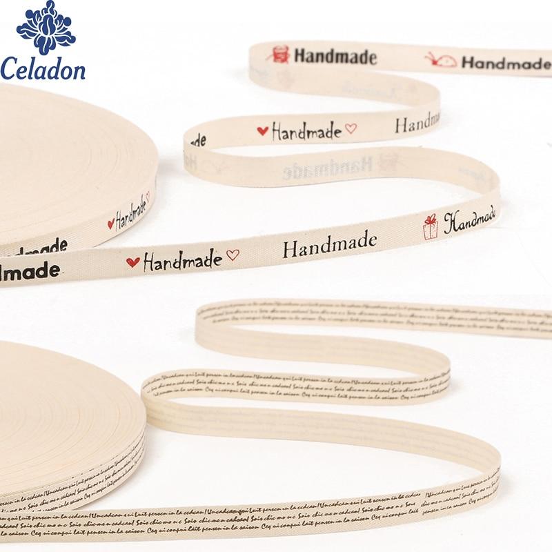 5 ярдов значение ручной работы хлопковая лента с принтом «Hand made» Письмо печати ленты для подарка Упаковка вечерние шить на одежду