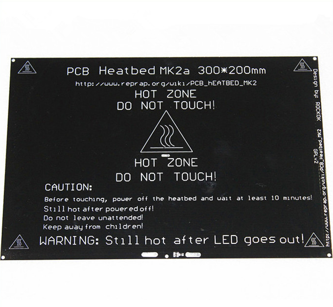 RepRap MK2A 300*200*3.0mm lit chauffant rampes 1.4 PCB lit chauffant en aluminium MK3 lit chauffant pour pièces d'imprimante 3D