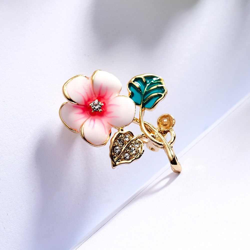 Smalto Flora Spille Moda Primavera Colorata Del Fiore Foglie di Prugna Uccelli Farfalla Ramo Piante Spille Abbigliamento Collare Spilli Distintivo