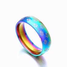 Gay Pride Jewelry Multi Color Ring With Paw Printing Polyester