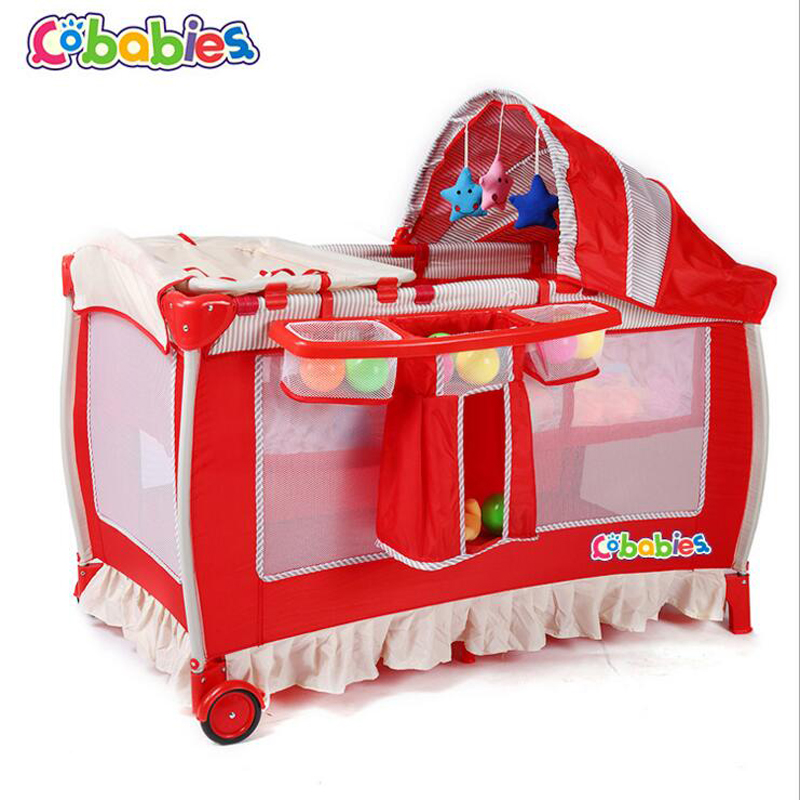 2017 New Portable Baby Crib Multi-functional Folding with Diapers Changing Table Travel Child Game Beds size 120*60*76cm цена и фото