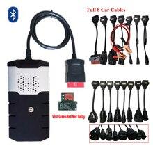 2019 obd сканер для delphis vd ds150e cdp 2016R0 bluetooth vd tcs cdp obd2 инструменту диагностики с реле + 8 шт тележки автомобиля кабелей.