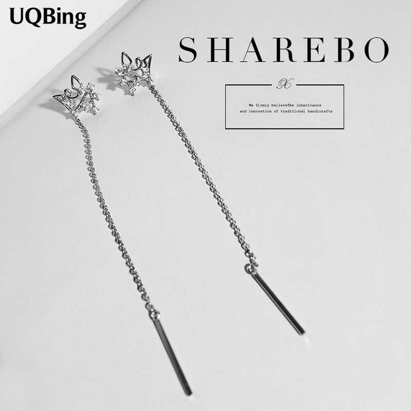 Fashion 925 Sterling Silver Drop Earrings Long Chain Earrings With Crystal Jewelry Wholesale Free Shipping