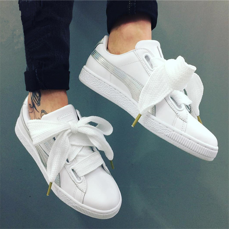 2019 New Arrival PUMA Basket Heart Patent Women's Sneakers Suede Satin Badminton