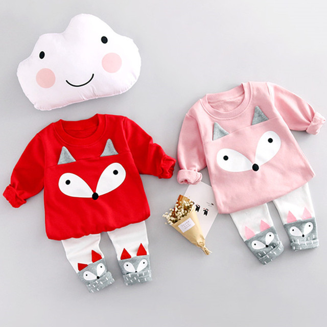 2017 New Spring Autumn Girls Clothes Cartoon Fox Children Clothing Sets Baby Sport Pullover Toddler Vestido Infantil Tracksuit
