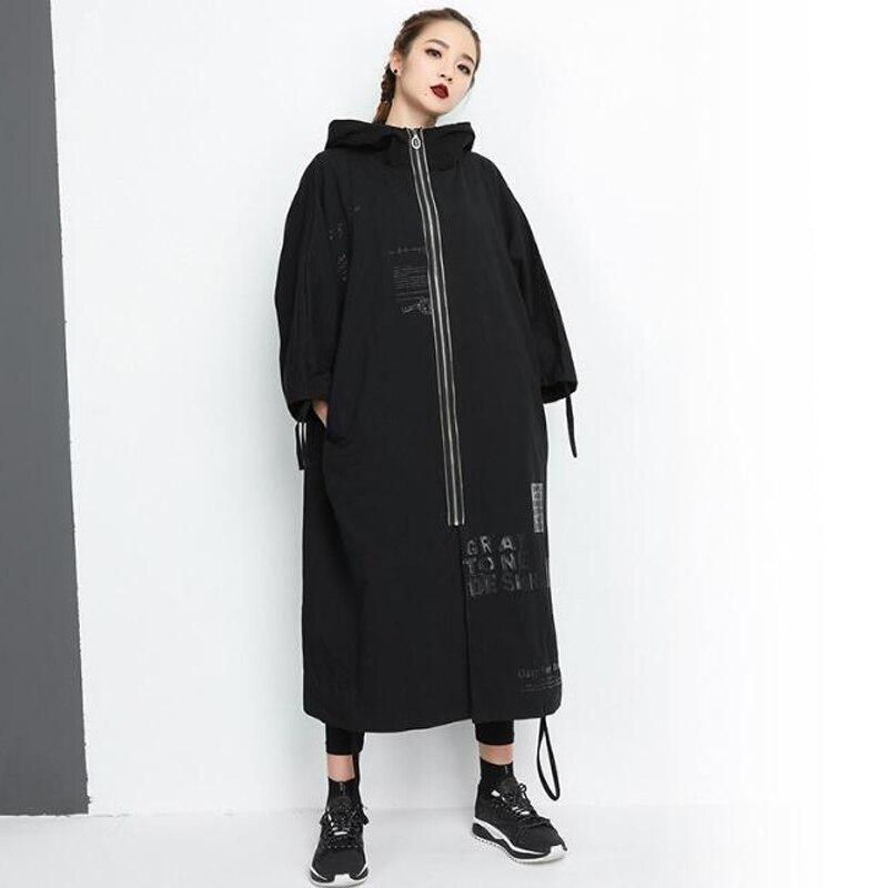 2018 New Fashion Autumn Winter BF   Trench   Plus Size Women Loose Hoodies Print Letter Cardigan Femal Zipper Long Coat Outwear Tops