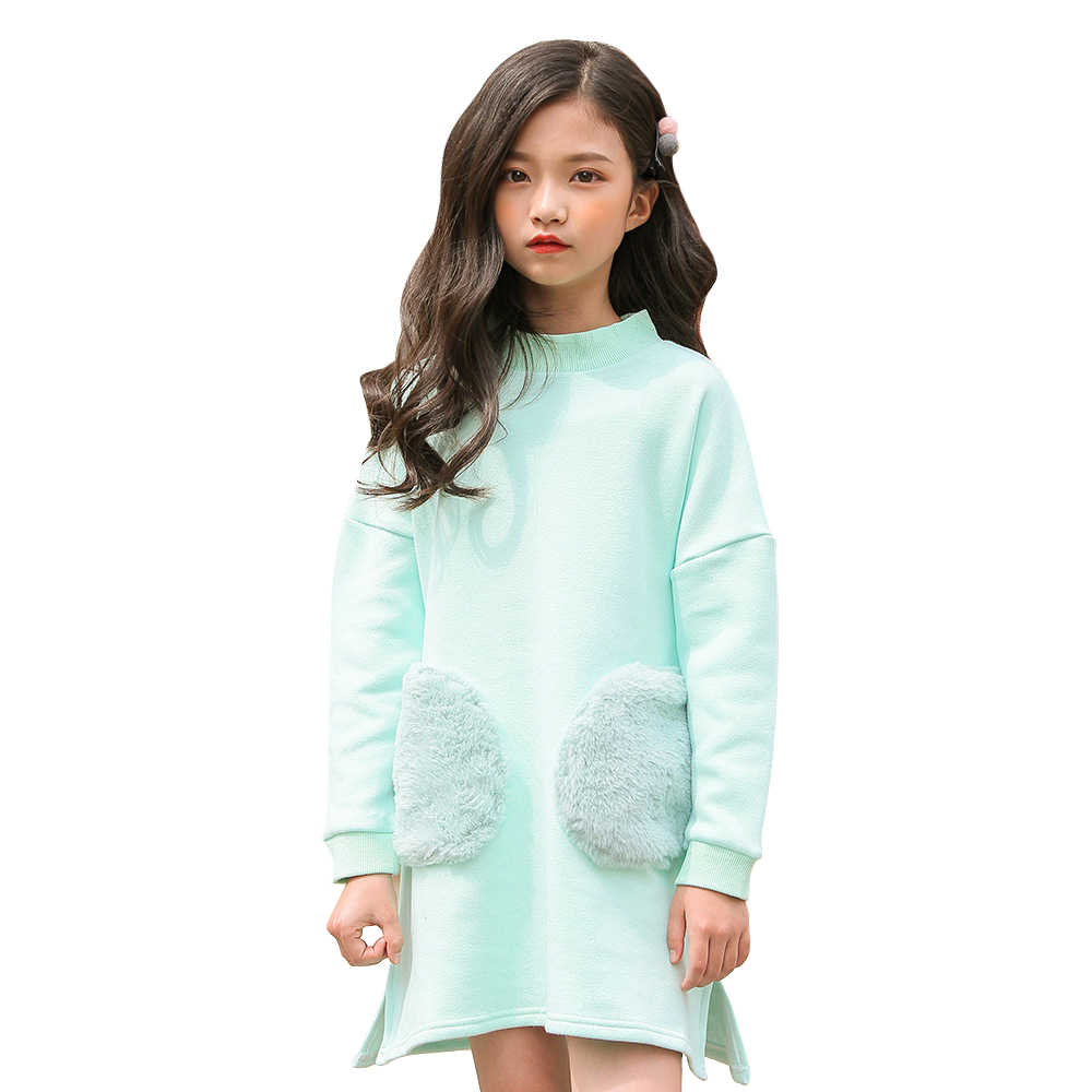 e5e9ed8398e 2019 fashion spring thick warm fleece dresses age for 4-14 yrs big girl long