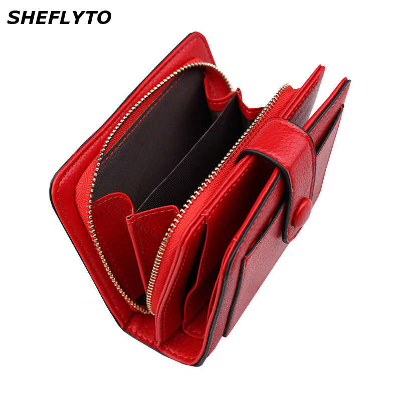 Women Wallets 2019 New Luxury Brand Red Black Small Mini Coin Purse Hasp Card Holder Lady Wallet Zipper Female Leather Buckle