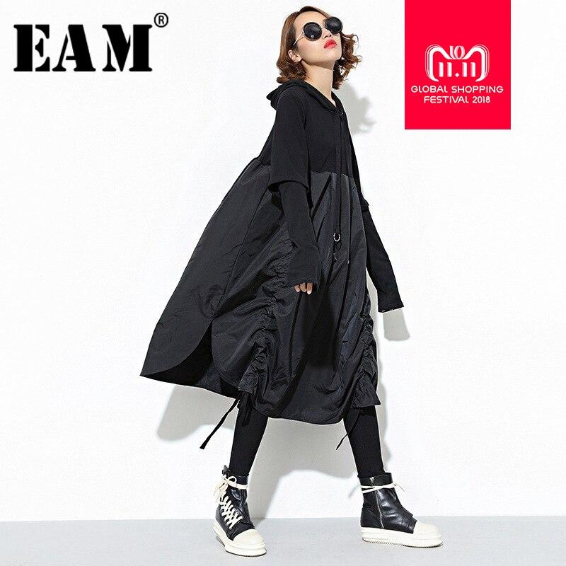 [EAM] 2018 Neue Herbst Mit Kapuze Lange Hülse Kordelzug Schwarz Falten Split Joint Lose Lange Kleid Frauen Mode Flut JD07601