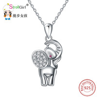 StrollGirl Authentic 925 Silver Cute Elephant Necklace Pendant Trendy Girl Jewelry Charms Crystal Animal Pendant Sterling