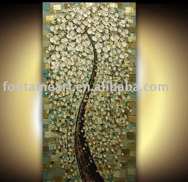 Textured Modern Tree Art Painting-white blossoms,50*100cm