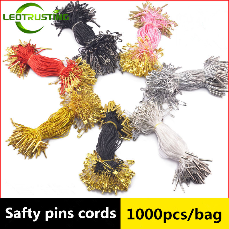 Leotrusting 1000pcs High-grade Safty Pins Tag String/Cords Women Clothing/Wedding Dress Sting with Gold/Silver/Black Safty Pins
