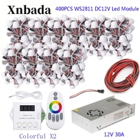 160 400PCS 40pcs/lot WS2811 Module Programmable Colorful Waterproof IP68 Lamp Beads +ColorfulX2 Led Controller +12V Power Supply
