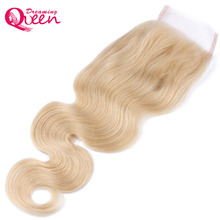 Dreaming Queen Hair Body Wave 4×4 Lace Closure #613 Color Brazilian 100% Human Hair Blonde Closures With Baby Hair