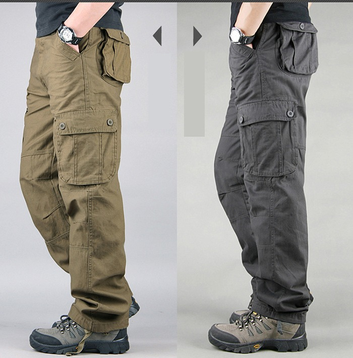 FALIZA Men's Cargo Pants Multi Pockets Military Style Tactical Pants Cotton Men's Outwear Straight Casual Trousers for Men CK102 32