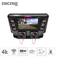 4 К Dash Cam скрытый Wifi Автомобильный dvr камера двойной объектив двойной полный 1080 P для внутри и снаружи автомобиля SONY IMX323 Автомобильный dvr видео