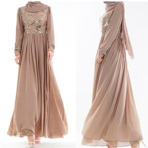 Eid Vestidos Sequin Abaya Dubai Arabic Muslim Hijab Dress Turkey Kaftan Sukienki Women Caftan Marocain Robe Musulmane Dresses
