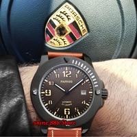 44mm parnis mens 기계식 시계 밀리터리 시계 남자 자동 손목 시계 사파이어 자동 날짜 브라운 정품 가죽 손목 시계
